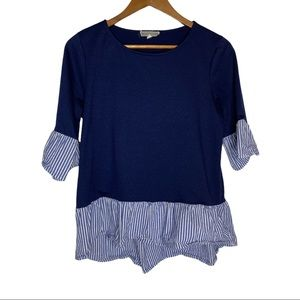 PLEIONE Striped Ruffle Top Navy blue size Small